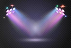 luci dello stadio proiettori lucidi proiettore di illuminazione modello riflettore vettoriale isolato illuminato per illustrazione di concerti e giochi