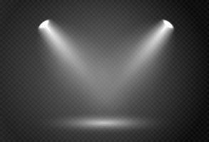 effetto riflettori per la fase del concerto teatrale luce incandescente astratta di riflettori illuminati su sfondo a scacchi vettore