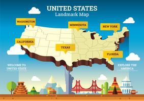 Mappa dei punti di riferimento degli Stati Uniti vettore