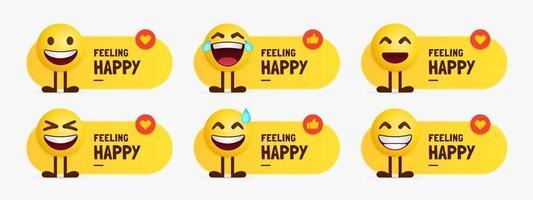 set di caratteri emoji felici in piedi con etichetta di testo vettore