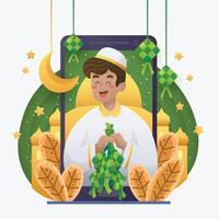 un uomo che celebra eid mubarak con ketupat vettore