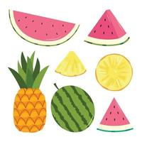 set di icone di frutti tropicali vettore