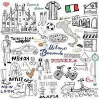 elementi di schizzo di milano italia disegnati a mano set con duomo bandiera mappa mappa scarpe articoli di moda pizza shopping trasporto stradale e raccolta di doodle di disegno di cibo tradizionale vettore