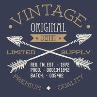 tshirt stampa design tipografia grafica vintage originale denim illustrazione vettoriale con frecce incrociate schizzo disegnato a mano etichetta in stile retrò distintivo applique