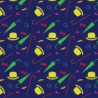 elementi retrò gentiluomo bombetta baffi tabacco da pipa monocolo canna e ombrello seamless pattern vettore