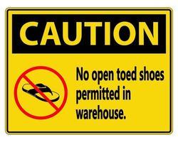 attenzione nessun segno di scarpe aperte su sfondo bianco vettore