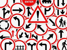 impostare i segnali stradali divieto di avvertimento simbolo del cerchio rosso vettore