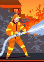 Vigili del fuoco in azione vettore