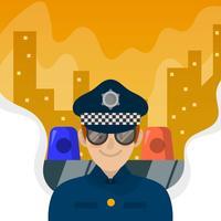 Ufficiale di polizia piano con l'illustrazione di vettore del fondo della città