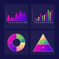 Elementi di Infographic del grafico a linee e grafico a barre Kit Dashboard UI / UX vettore