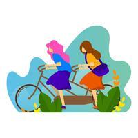 Illustrazione piana di vettore della bici in tandem di giro di amicizia piana