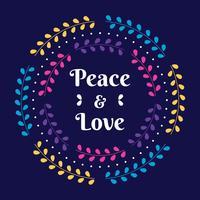 Invito di festa di pace e di amore con l'illustrazione floreale della corona