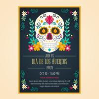 Flyer Day Of Dead In stile acquerello