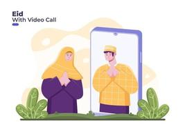 la coppia celebra eid mubarak con videochiamata online, allontanamento sociale o fisico per ridurre la diffusione del coronavirus covid 19. ramadan con videochiamata su smartphone. perdonatevi a vicenda durante l'eid vettore