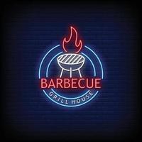 barbecue grill e bar insegne al neon stile testo vettoriale