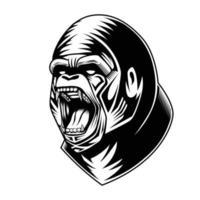 bianco e nero illustrazione vettoriale della testa di gorilla buon uso per il simbolo icona mascotte avatar tatuaggio t shirt design logo