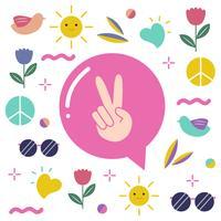 Vettore di progettazione di pace di amore e di pace