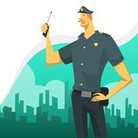 Carattere piano dell'ufficiale di polizia con l'illustrazione di vettore del fondo dell'orizzonte della città