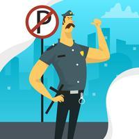 Carattere piano dell'ufficiale di polizia con l'illustrazione di vettore del segno di parcheggio