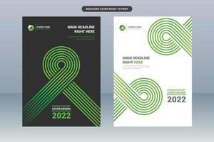 copertina del libro di affari con linea verde arrotondata vettore