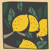 limone vintage doodle vettore