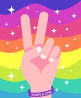 Illustrazione di pace e amore vettore