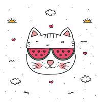 vettore di gatto di doodle