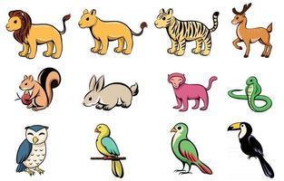 illustrazione vettoriale cartone animato di dodici diversi animali selvatici con leone tigre cervo scoiattolo coniglio scimmia serpente gufo uccello pappagallo e bucero