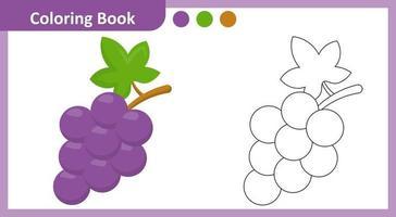 libro da colorare uva vettore