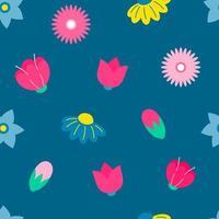 modello di ripetizione senza cuciture di fiori e boccioli primaverili vettore
