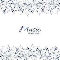 Sfondo bianco musicale con note blu vettore