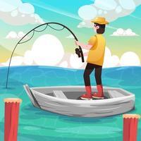 attività estiva di pesca in spiaggia vettore