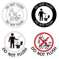 WC senza spazzatura per favore non tirare lo sciacquone vettore
