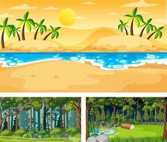 set di diverse scene di paesaggi naturali vettore