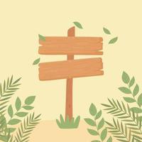 fogliame di legno del cartello vettore