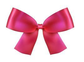 fiocco di seta rosa realistico su bianco vettore