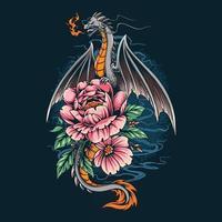 il drago ha emesso un fuoco su un bel fiore vettore