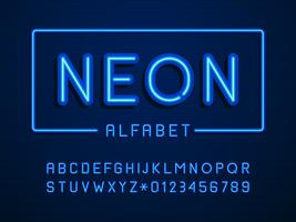 Vettore di lettere e numeri di alfabeto al neon