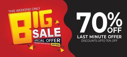 grande vendita sconto banner modello promozione illustrazione vettoriale