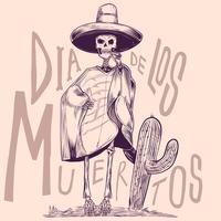 Scheletro nei costumi nazionali messicani con l'illustrazione d'annata dell'incisione del cactus vettore