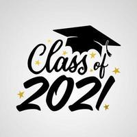 il vettore illustra il logo della laurea 2021 e il design per la maglietta