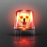 lampeggiatore rosso sirena vettore oggetto realistico effetto luce faro per auto della polizia ambulanza camion dei vigili del fuoco sirena lampeggiante di emergenza sfondo trasparente illustrazione vettoriale