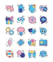 pacchetto di icone di set di salute mentale vettore