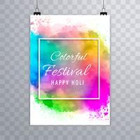 Felice holi festival.holi brochure splash acquerelli colorati ba vettore