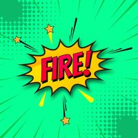 Vettore del fondo di verde del libro di fumetti del fuoco