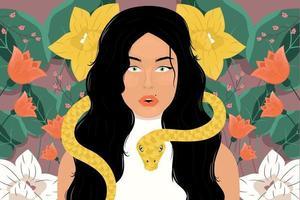 ritratti di donna con fiori e serpente vettore