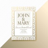 Carta di invito di matrimonio decorativo e vect modello di scheda di invito