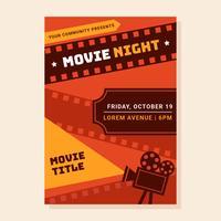 poster notturno di film vettore