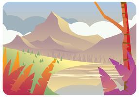 Vettore di vista del paesaggio montano