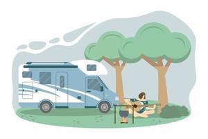 roulotte in una vacanza estiva locale foresta. una donna sta suonando la chitarra all'illustrazione di vettore di concetto di campeggio in stile piano